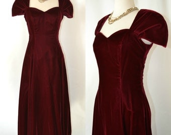 1980s Cranberry Velvet Dress, Holiday/Christmas Dress, Victorian Revival