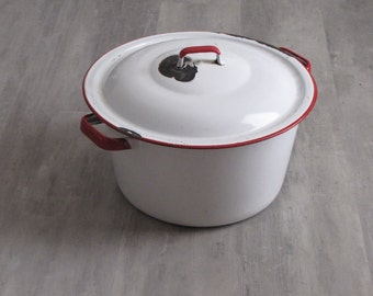 Vintage White Enamel with Red Trim Pot with Lid