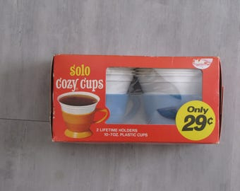 Vintage 1970s Blue Solo Cozy Coffee Cups (2) with Inserts / Refills - in original box