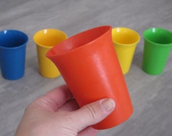 Vintage Multicolored Tupperware Children's Cups Tumblers - Set of Five