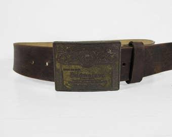 Vintage 70s Budweiser Belt Buckle Leather Brown Cowhide Men's Belt Size 30 - 32
