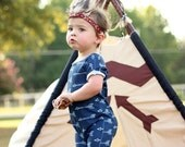 Black Friday Sale Romper Navy Shooting Arrow - One Piece Outfit - Gender Neutral - Baby Apparel - Toddler Apparel - Children's Apparel - Arr