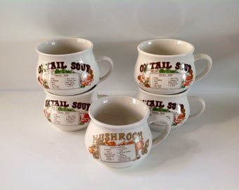 Soup Bowls With Handles, Vintage Soup Mugs, 1970's Soup Crocks with Recipes - Set of 5