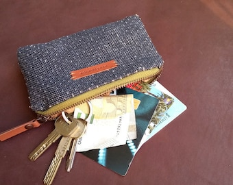 Small purse in navy punched linen - special gifts - gift for her