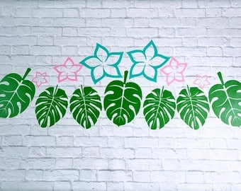 Tropical Foliage Plumeria Flowers Vinyl Wall Decal-Please see listing description for details-