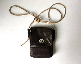Small Dark Brown Leather Purse | Satchel - Repurposed Leather