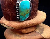 Handmade Leather Cuff, Southwestern, King's Manassa Colorado Turquoise, Wide Brown Water Buffalo Leather Cuff, One Of A Kind
