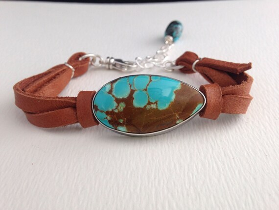 Handmade Southwestern Sterling Silver Bracelet, Saddle Brown Leather, Number 8 Turquoise Bracelet