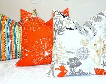 OUTDOOR Coordinating Pillow Covers Orange Sparks Multi Stripe Coral Shell Nautical Pillow Covers Choose Size Choose Fabric