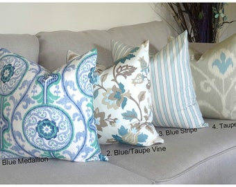 Magnolia Ocean Collection Blue Seafoam Mint Green Brown Taupe Stripe Floral Medallion Ikat Pillow Cover 18x18