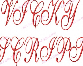 """JUMBO Vicky Script Machine Embroidery Font - Sizes 5"""",6"""",7"""", and 5x7 Hoop - BUY 2 get 1 FREE"""