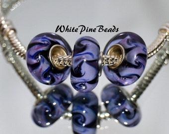 Black and Lavender Swirls MURANO GLASS BEADS fits European  Charm Bracelets WhitePineBeads 929