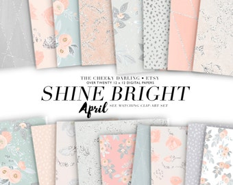 Digital Paper Set Shine Bright Peach Pink Gray floral Pattern watercolor glitter Jpg for Small CU  Printed Planner Stickers Invitations