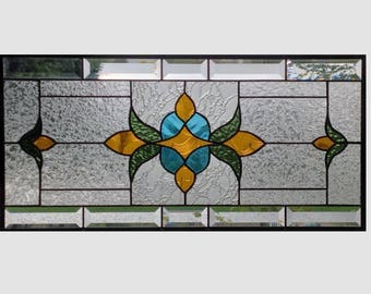 Victorian beveled stained glass panel window hanging amber blue olive clear stained glass window panel window transom 0239 23 1/2 x 11 1/2