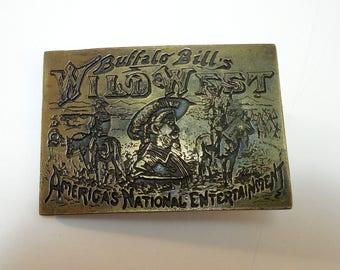 1976 Brass Buffalo Bill's Wild West Buckle, Koleaco Enterprises Brass Buckle, American Heritage Series Buffalo Bill's Wild West Buckle...