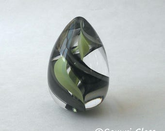 Glass Egg Paperweight Light & Dark Green Swirl :  DISASTER RELIEF