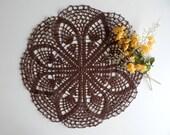 "Crochet Doily Chocolate Brown Round Doily = 15"" Lacy Centerpiece"