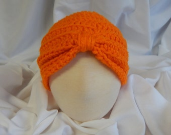 Baby Turban Hat Crochet in Orange - 3 to 6 Months - Makes a Great Photo Prop