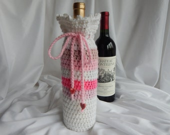 Wine Bottle Cover Crochet Cozy Gift Wrap - Pink and White with Heart Charms