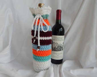 Wine Bottle Cover - Crochet Wine Cozy - Burgundy, Orange, Green & Blue with Wood Beads