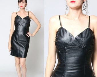 Vintage 90s NOS Fitted Black Leather Dress / Small