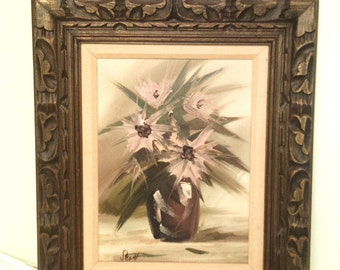 Asian Oil Painting Mid Century Abstract Flowers In Vase