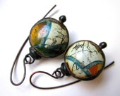 Don't Let Anybody Tell You Different -primitive vintage soldered orange marmalade green cream tin hollow scratch bauble black metal earrings