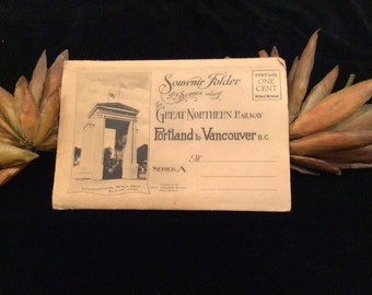 Vintage Souvenir Folder Scenes Along The Great Northern Railway Portland to Vancouver BC Series A  Postcard  Booklet, Vintage Collectible