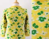 60s MOD Sweater // Vintage Bright Yellow Pullover Floral
