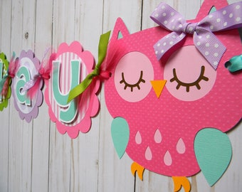 Owl Birthday Banner, Owl Party Decorations, Owl First Birthday, Owl Party Banner, Owl Party Garland, Owl Happy Birthday Banner, Owl Party
