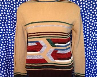 1970's geometric stripes sweater,