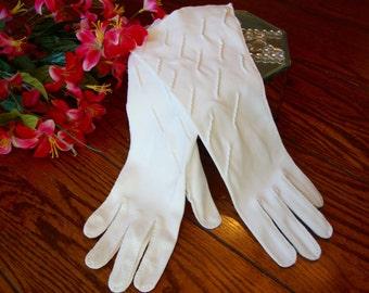 White Cotton Gloves Ladies White Dress Gloves Vintage Long Gloves Fashion Accessory