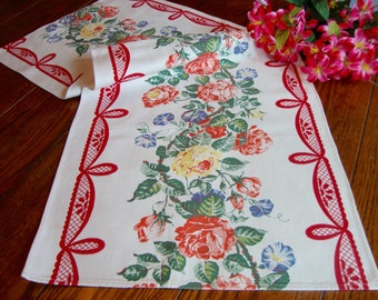 Floral Table Runner Colorful Flowers Red Border Vintage Dresser Scarf French Country