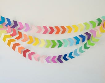 Rainbow Chevron Garland, Rainbow Chevron Bunting, Paper Chevrons, Chevron Garland, Party Decor, Photo Prop Paper Garland, Paper Decoration