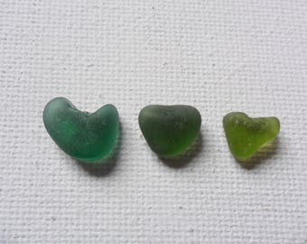 3 tiny green sea glass hearts - pretty English beach find pieces