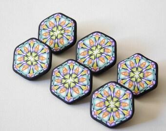 """Polymer Clay Shank Buttons, 7/8"""" handmade kaleidoscope buttons, 22 mm hexagon shaped buttons"""