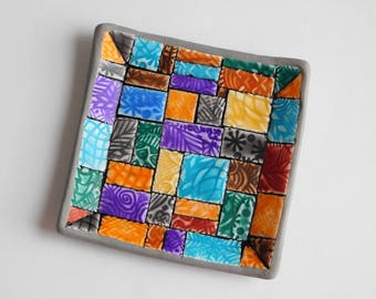 Mosaic Trinket Dish, square jewelry bowl, polymer clay ring holder