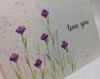 OOAK Purple Carnations Love You Greeting Card