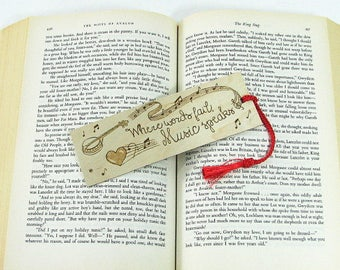 Wood Bookmark. Music Quote. Music Bookmark. Music Teacher Gift. Banjo. Wood Pyrography. Banjo Bookmark. Musician Gift. Instrument