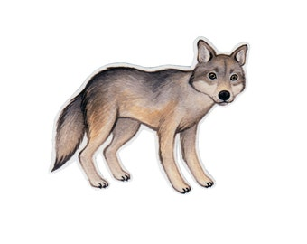 Wolf Wildlife Magnet / Nature Art / Refrigerator Magnet / Office Magnet / Party Favor / Stocking Stuffer / Small Gift