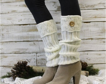 knit leg warmers EVERGREEN Ivory wood button legwarmers boots women lace boot cuffs lace ankle socks boot toppers Catherine Cole Studio LW11
