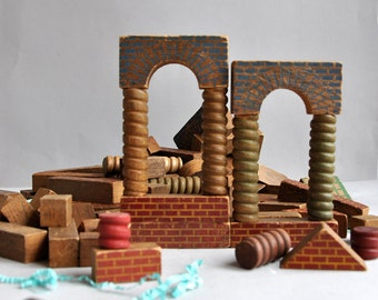 Large Set Embossed Architectural Wood Building Blocks