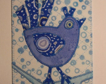 Bluebird of Happiness Postcard Birthday Card -MADE to ORDER- Mom Child Friend Hello Bird Thank You Gift Frame Room Decor 4x6 Fabric Quilted