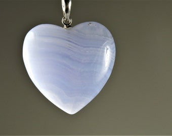 Blue Lace Chalcedony Agate Small Heart Pendant with 925 Bail - 25.5mm x 26mm x 9mm - B6487