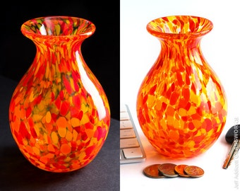 Small Handblown Glass Vase with Yellow Orange and Red Dots