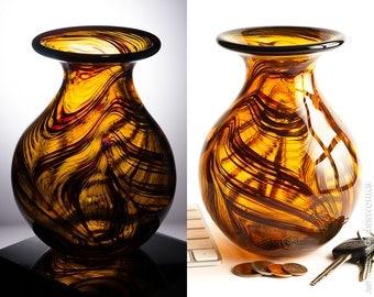 Hand Blown Art Glass Vase - Burnt Orange with Random Squiggles