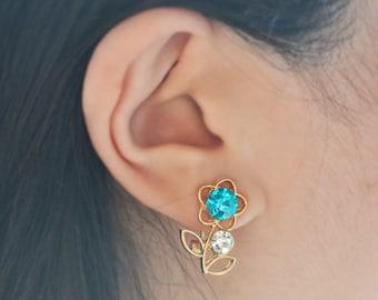 Aquamarine Flower Gold Stud Earrings