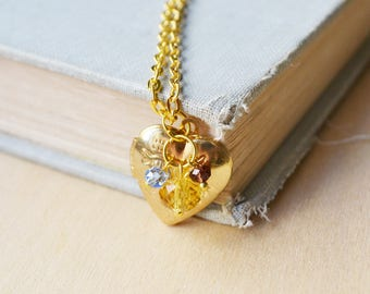 Gold Heart Locket Necklace with Violet and Amber Beads