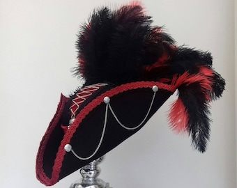 Gothic  steampunk black & red pirate tricorn  hat
