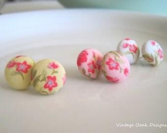 Floral Button Earrings, Button Studs, Button Jewelry,Fabric Button Earrings,Floral Earrings, Floral Studs,Fabric Jewelry, Textile Earrings